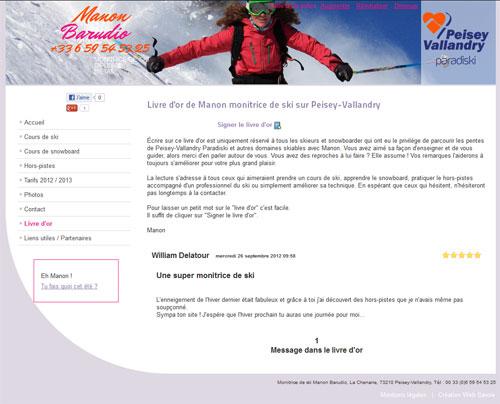 Site de Manon Barudio monitrice de ski sur Peisey-Vallandry